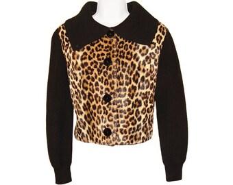 Vintage Leopard Jacket, Faux Fur and Wool Knit, 1950s