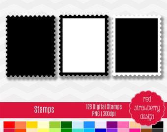75% OFF Sale - Stamp Outlines - 128 Digital Clip Art - Instant Download - PNG (CA145)