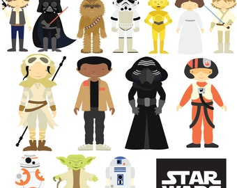 Star Wars - Clipart & Vector Set - Instant Download - Personal and Commercial Use - New Characters
