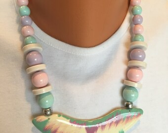 Boho Lucite Bead Necklace Focal Pendant Pastel Colors Vintage - Pink, Lavender, White, and Light Blue Bead Necklace