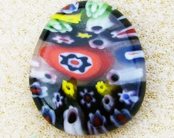 Fused Glass Cabochon - Handmade Flower Shower, Multicolored by JewelryArtistry - DC425