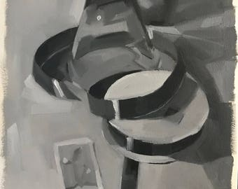 """Oil Painting sketch study black and white """"The Juggler"""" by Sarah Sedwick"""