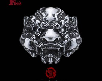 Sterling Silver 925 Chinese Lion Ring, Guardian Lion, Songyan Jewelry