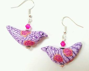 Polymer clay bird earrings,  bird jewelry, polymer clay jewelry, bird earrings, pink earrings, dove earrings, dove jewelry