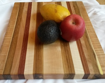 "13 x 11"" honey locust solid hardwood striped Cutting Board curly maple cherry mahogany excellent joinery popular colorful housewarming gift"