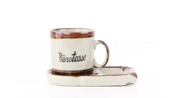 Vintage Earthenware Mug cup & coffee funny gift idea Pottery 2 in 1 practical accessory