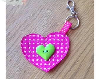 Pink Heart Shaped Keyring, Heart Keyring