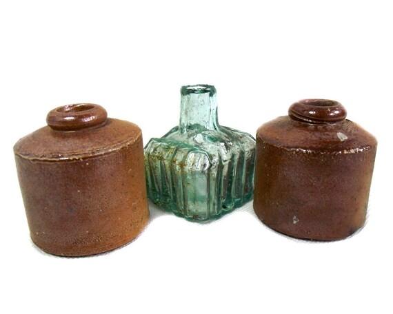 Antique Glass & Stoneware Ink Bottles