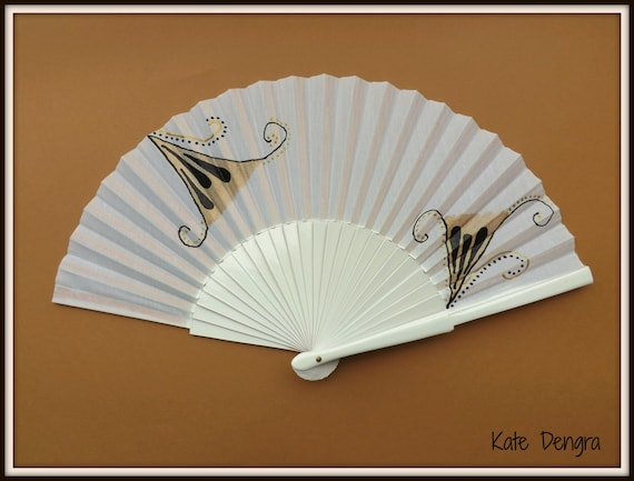 Gold Black and White Festive Edition SIZE OPTIONS Hand Held Folding Fan From Spain by Kate Dengra