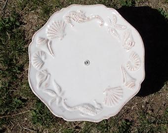 Seashell Embossed Stoneware Plate Bird, Squirrel or Fairy Feeder