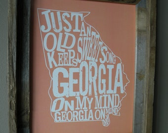 Georgia On My Mind Map Print (Peach) - Unframed
