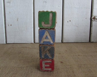 Wood Blocks, Wood Blocks Spelling Jake, Wood Blocks, Old Wood Blocks, Four Vintage Wood Blocks, Wood Name Blocks, Collectible Blocks