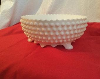 Fenton  hobnail footed  bowl