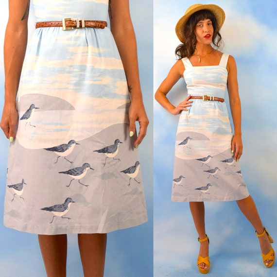 Vintage 70s Malia Sandpiper Novelty Print Sun Dress (size xs)