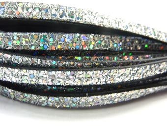 20 cm Strip 5mm flat leather silver iridescent