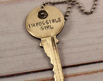 Impossible Girl KEY - Doctor Who Inspired - Whovian necklace - TARDIS KEY - Clara Oswald Key - fandom - Dr who