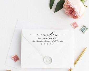 Custom Return Address Stamp, Self Ink Return Address Stamp, Personalized Address Stamp, Calligraphy Address Stamp Return Address Stamp No48