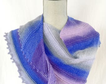 Knit Shawl, Knit Scarf, Half Shawl, Triangle Scarf, Women's Accessories, Lightweight Scarf ,Lavender , Purple, Blue, Grey