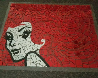 Framed Mosaic Wall Art - 'Redheads Matches' Lady
