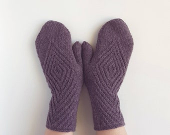 Knit wool gloves mittens for adults, purple mittens, hand knitted traditional mittens
