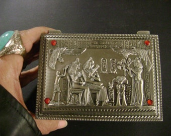 Unique Hand Made  Egyptian Pewter Jewelry Box Mad in Egypt