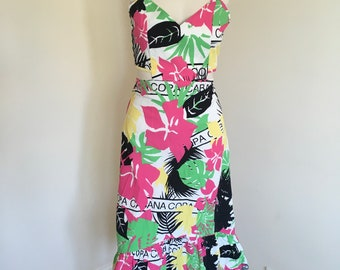 Vintage Retro Copa Cabana Print Fabric Tropical Summer Midi Dress