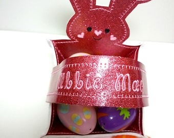 Easter basket of  mirror sparkle vinyl in pink personalized with name on handle
