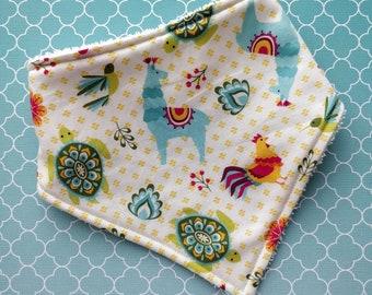 Cotton or bamboo Baby dribble bandana bib (choose your backing) - llama party