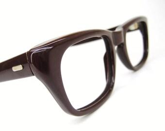 Vintage 1950s Brown Nylon Cateye Eyeglasses Eyewear Frame NOS