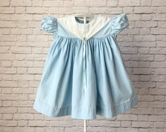 blue vintage baby dress, empire waist dress, solid blue dress, cotton baby dress, baby blue dress, classic vintage baby dress, blue dress
