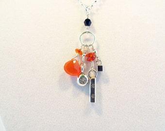 Carnelian and Silver Talisman Necklace