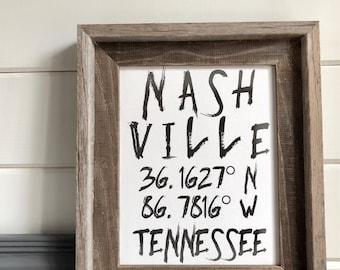 Nashville Coordinates Barnwood Framed Art Brush Font