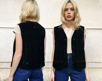 Vintage 90s Solutions Black Velvet Button Up Grunge Vest M