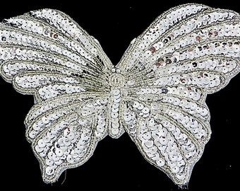 """Sale! Choice Silver or Gold Butterfly Appliqué, Sequin Beaded,  9"""" x 6""""  -B201-B292"""