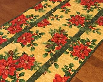Christmas Poinsettia Table Runner, Christmas Decor, Holiday Table Runner, Quilted Christmas Table Runner, Poinsettias, Christmas Table Quilt