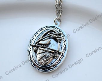 Bird Nest Silver Book Locket Charm Necklace