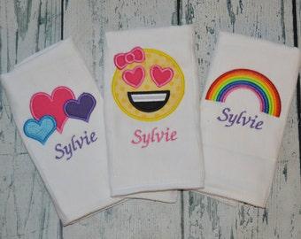 Personalized Emoji Burp cloth Set of 3 Monogrammed