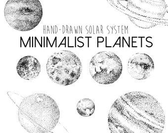 Minimalist Planets Clipart   Solar System Planet & Moon Illustrations, Detailed Hand Drawn Clip Art Digital Download, Minimalism Black White