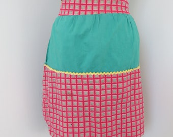 Vintage Homemade Half Apron - Green Red & Yellow with Pocket