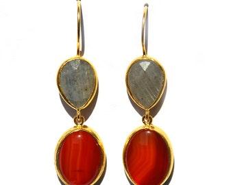 Orange Agate and Grey Labradorite Earrings, long earrings, gift for her, long drop earrings