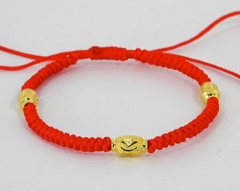 Solid Gold Trifecta Lucky Red String Bracelet