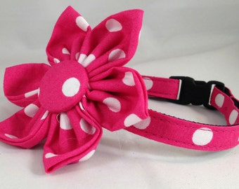 Cat Collar or Kitten Collar with Flower or Bow Tie - Hot Pink Polka Dots