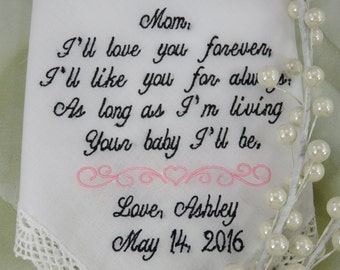 Lacy Embroidered Wedding Handkerchief Custom Handkerchief Wedding Gift For Mother Of The Bride Wedding Custom Gift Bridal Handkerchief Gift