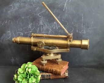 Vintage Solid Brass Theodolite Alidade Dumpy Level .Antique optical instrument .Surveying instrument
