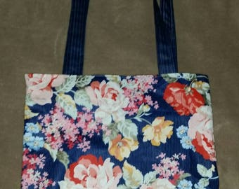 Flower grocery shopping tote bag  reversible tote bag handmade book bag  shopping bag reusable grocery bag craft tote affordable not cheap