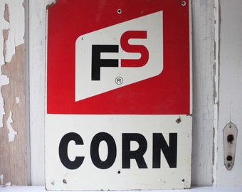 Vintage Farm FS Corn Sign, Store Sign, Vintage Advertising, Rustic, Primitive, Salvage, General Store