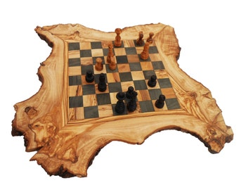 Olive Wood Chess Board Set, Personalized Wood Natural Edges Custom Rustic Wooden Chess game , Chessboard, Dad gift