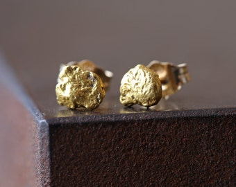 Raw Gold Nugget Stud Earrings