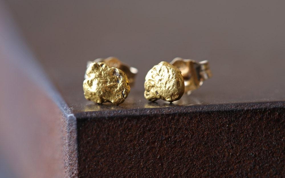 Raw Gold Nug Stud Earrings