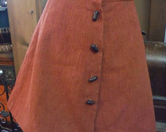 1960's Rust Color Mini Skirt with Barrel Buttons